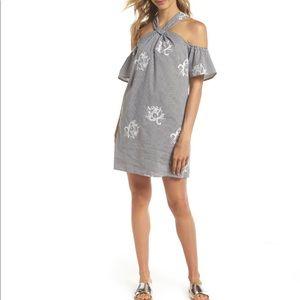 Ali & Jay Embroidered Stripe Halter Dress Size XS